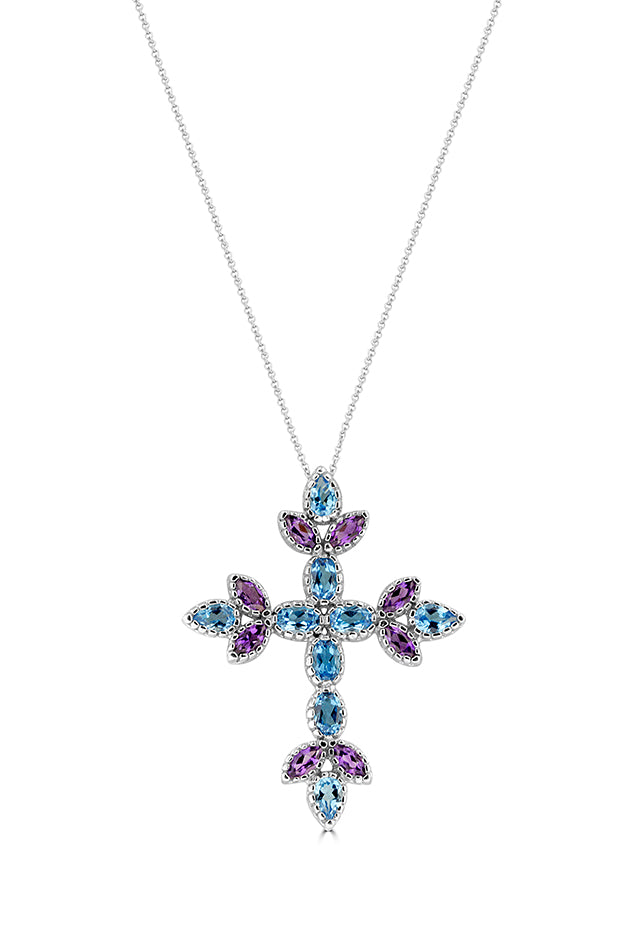 Effy 14K White Gold Blue Topaz and Amethyst Cross Pendant, 6.42 TCW