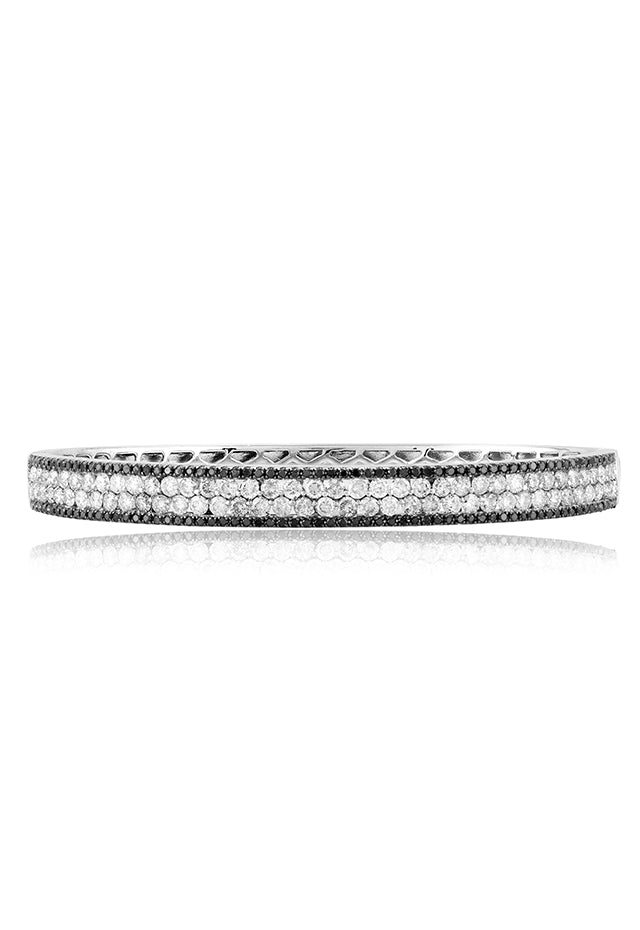 Effy 14K White Gold Black and White Diamond Bangle, 3.42 TCW
