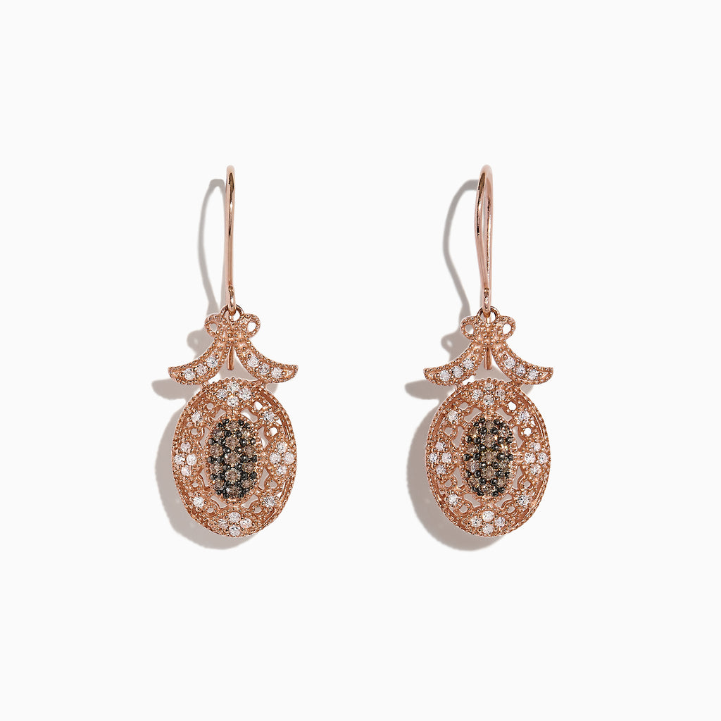 Effy 14K Rose Gold Espresso and White Diamond Drop Earrings, 0.46 TCW