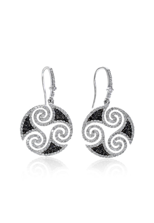 Effy 14K White Gold Black and White Diamond Hook Earrings, 1.48 TCW