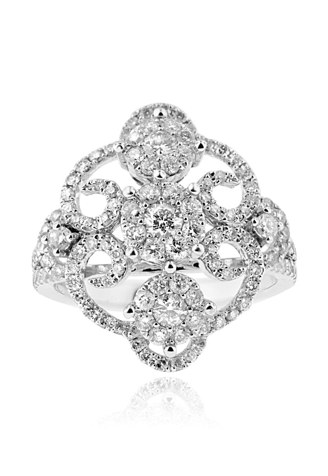 Effy Pave Classica 14K White Gold Diamond Bouquet Ring, 1.40 TCW