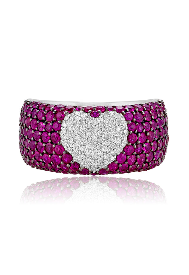 Effy 14K White Gold Ruby and Diamond Heart Ring, 3.24 TCW