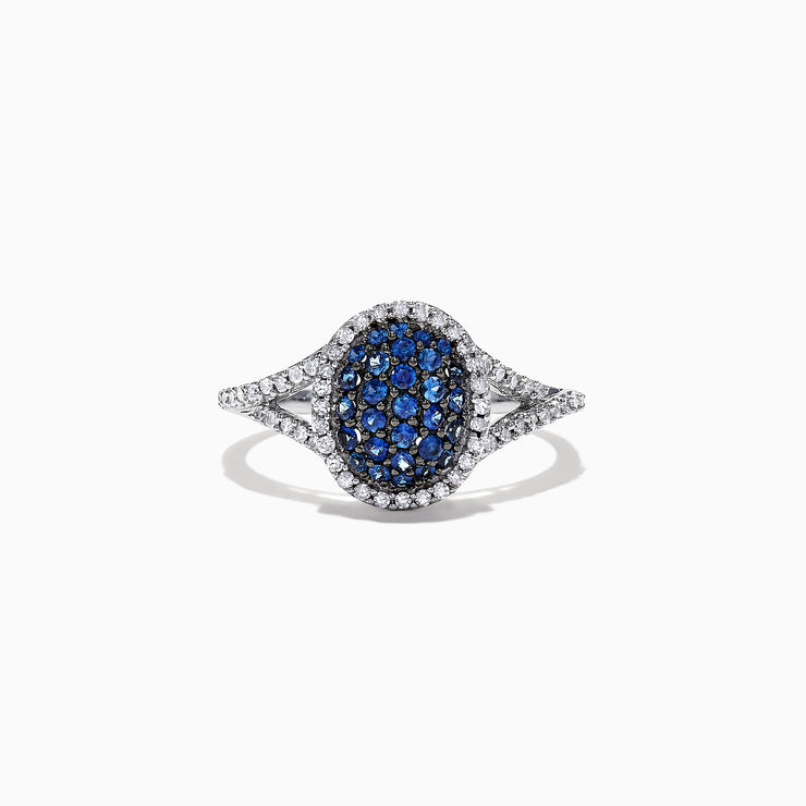 Effy 14K White Gold Blue Sapphire and Diamond Ring, 0.59 TCW