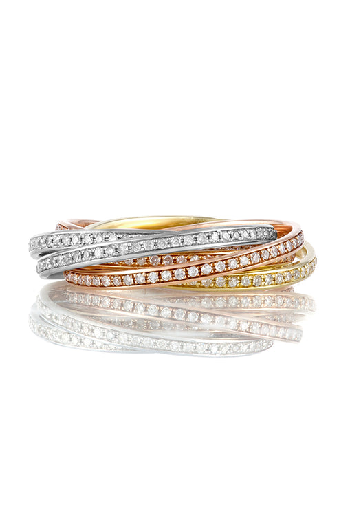 Effy 14K Tri Color Gold Diamond Multi Intertwined Band Ring, 1.15 TCW