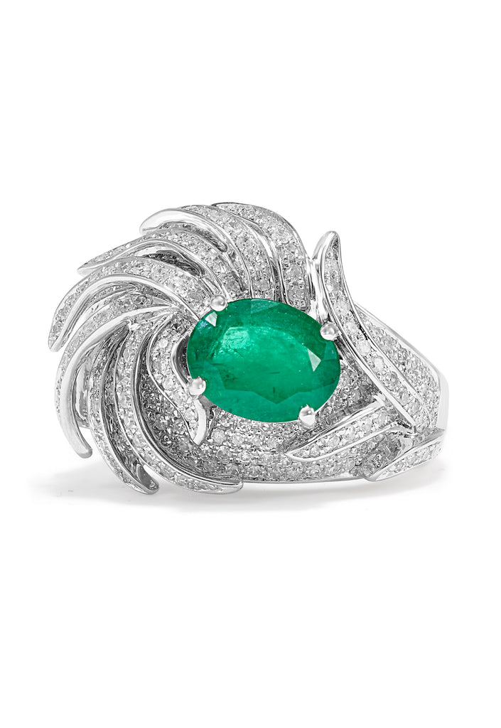 Effy 14K White Gold Emerald and Diamond Filigree Ring, 2.28 TCW