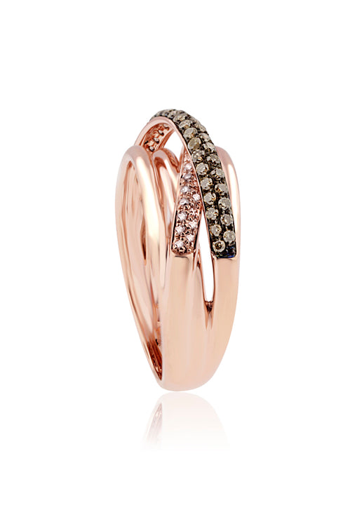 Effy 14K Rose Gold Cognac and White Diamond Ring, 0.45 TCW