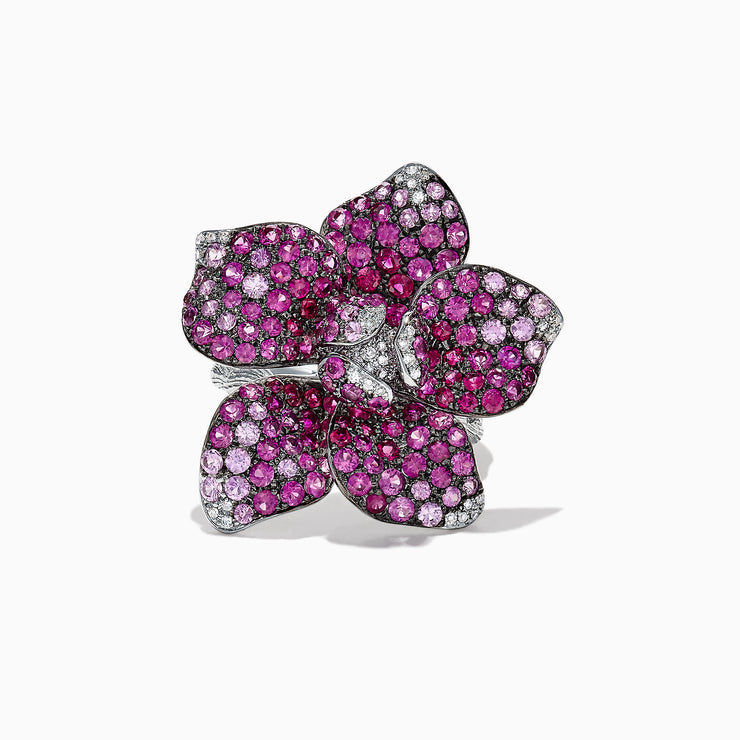 Effy 14K White Gold Pink Sapphire and Diamond Flower Ring, 4.80 TCW