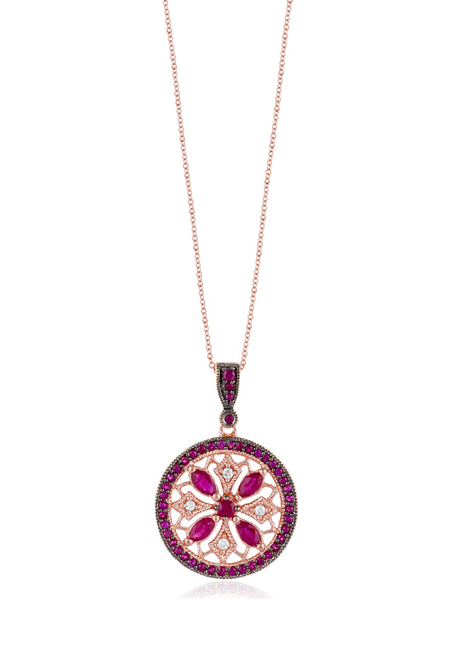 Effy 14K Rose Gold Ruby and Diamond Pendant, 1.69 TCW