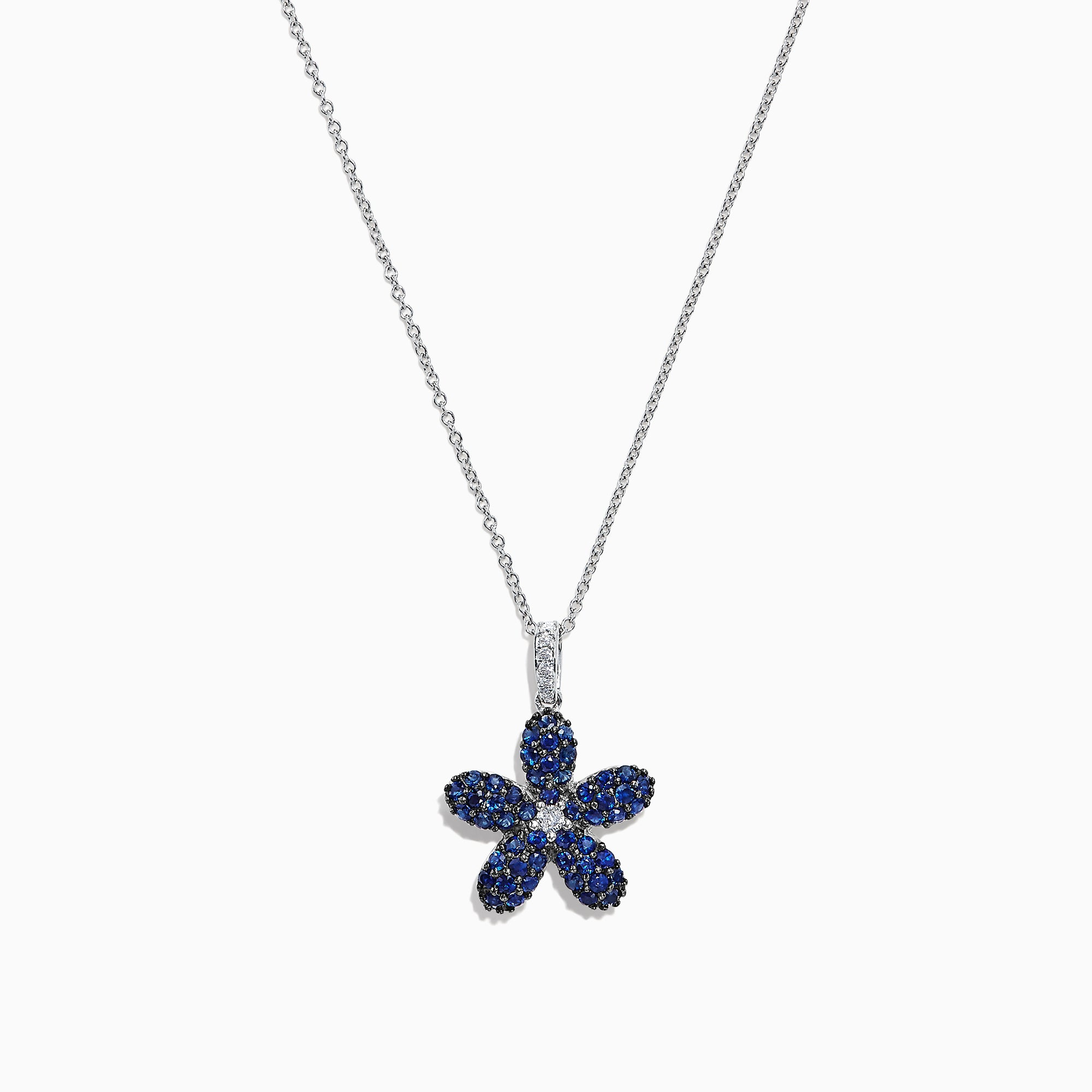 Effy 14K White Gold Blue Sapphire and Diamond Flower Pendant, 0.77 TCW