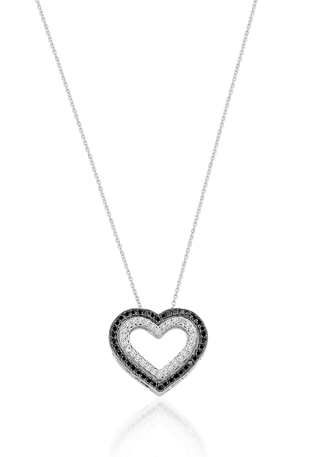 Effy 14K White Gold Black and White Diamond Double Heart Pendant, 0.50 TCW