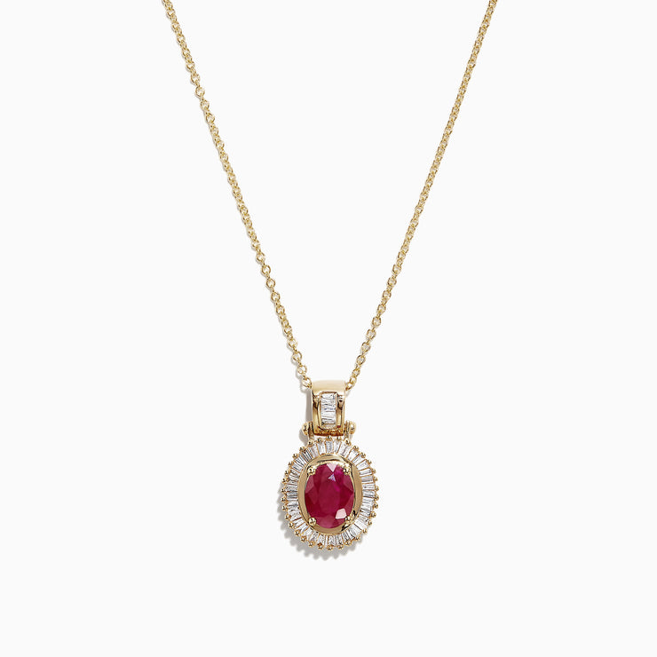 Effy 14K Yellow Gold Ruby and Diamond Pendant, 1.98 TCW