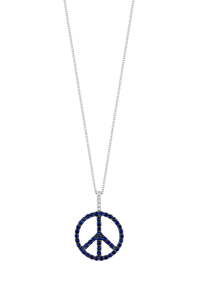 Effy 14K White Gold Blue Sapphire and Diamond Peace Sign Pendant, 0.44 TCW