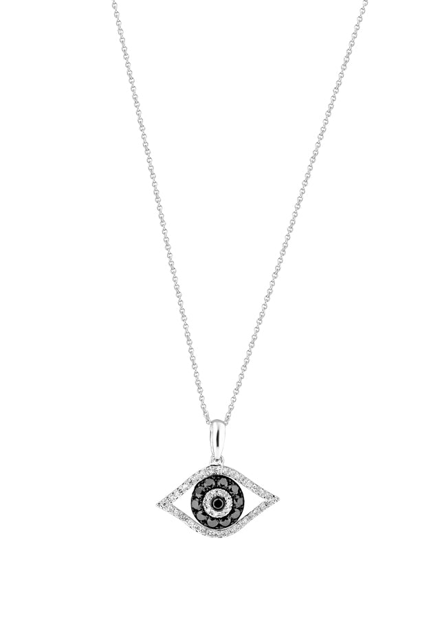 Effy 14K White Gold Black and White Diamond Evil Eye Pendant, 0.34 TCW