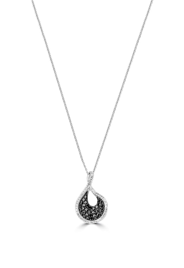 Effy 14K White Gold Black and White Diamond Pendant, 0.49 TCW