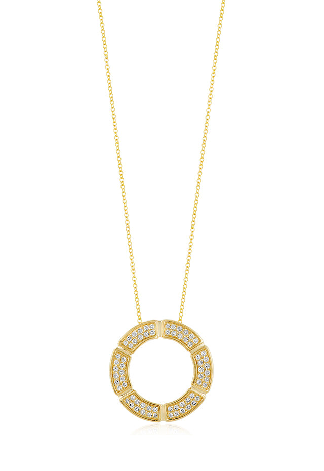 Effy 14K Yellow Gold Diamond Circle Pendant, 0.26 TCW