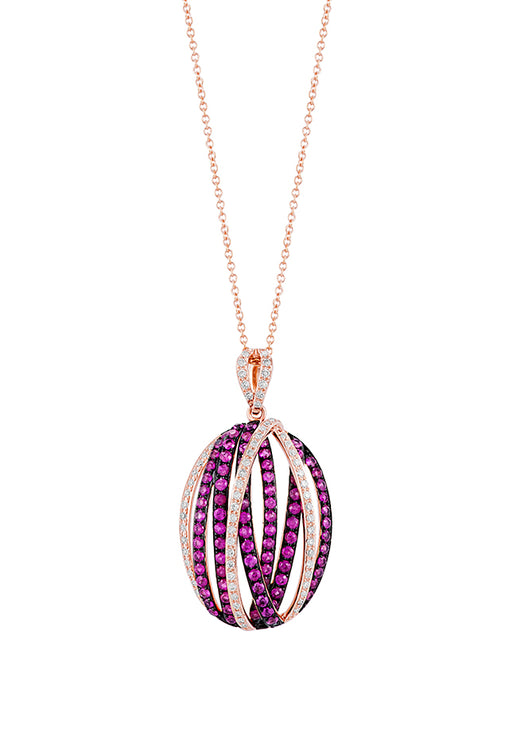 Effy 14K Rose Gold Ruby and Diamond Pendant, 1.25 TCW