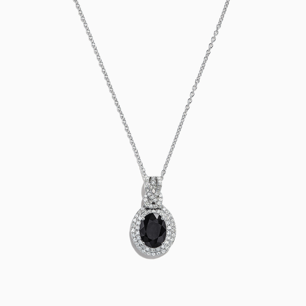 Effy 14K White Gold Dark Blue Sapphire and Diamond Pendant, 2.19 TCW