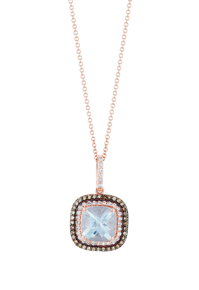 Effy 14K Rose Gold Aquamarine and Diamond Pendant, 2.05 TCW