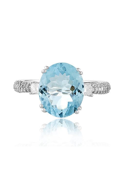 Effy 14K White Gold Aquamarine and Diamond Ring, 5.14 TCW