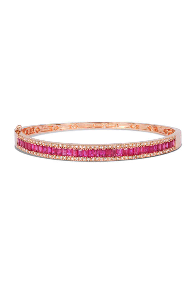 Effy Gemma 14K Rose Gold Ruby and Diamond Bangle, 3.93 TCW