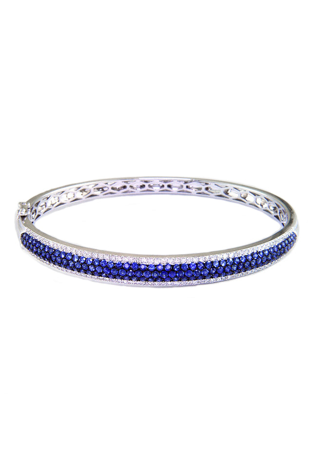 Gemma 14K White Gold Blue Sapphire and Diamond Bangle, 2.26 TCW