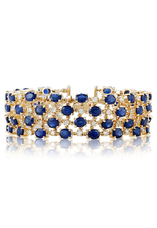 Effy 14K Yellow Gold Natural Blue Sapphire and Diamond Bracelet, 27.53