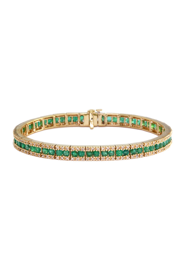 Gemma Yellow Gold Emerald & Diamond Bracelet, 5.62 TCW