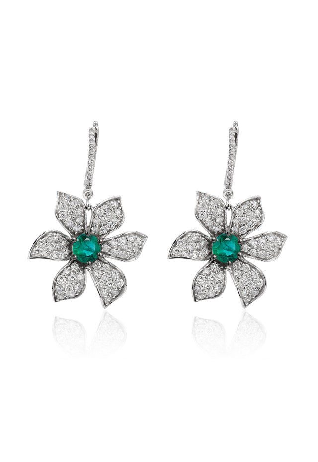 Gemma White Gold Emerald & Diamond Earrings, 4.5 TCW