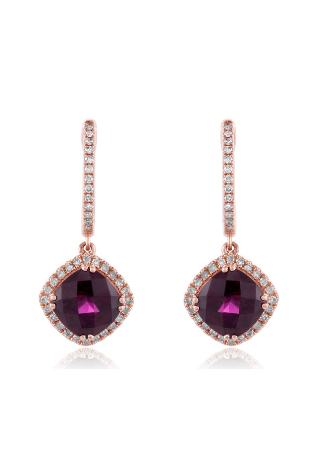 Effy Bordeaux 14K Rose Gold Rhodolite Garnet & Diamond Earrings, 4.08 TCW