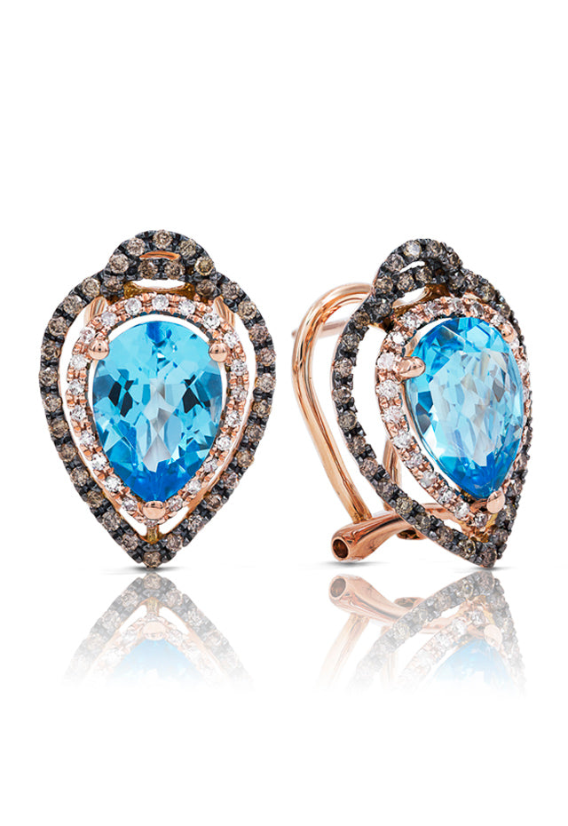 Gemma Blue Topaz & Diamond Earrings, 4.64 TCW