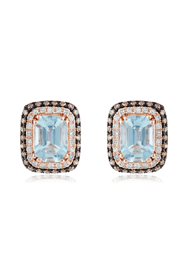 Effy Aquarius 14K Rose Gold Aquamarine, Cognac & Diamond Earrings, 2.37 TCW