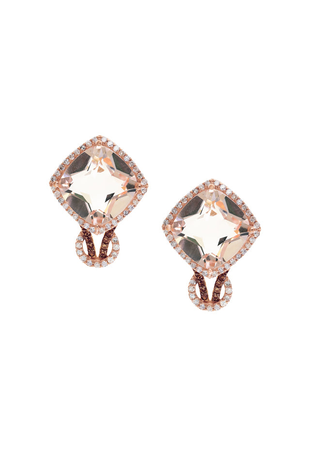 Effy Blush 14K Rose Gold Morganite and Diamond Earrings, 6.90 TCW