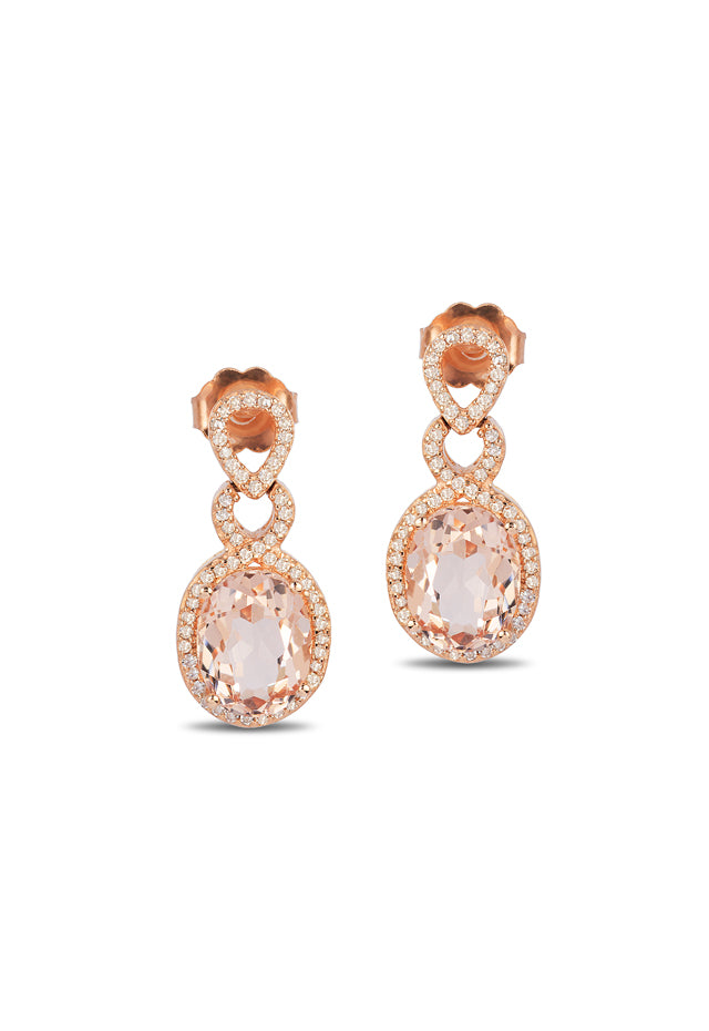 Effy Blush 14K Rose Gold Morganite and Diamond Earrings, 4.18 TCW