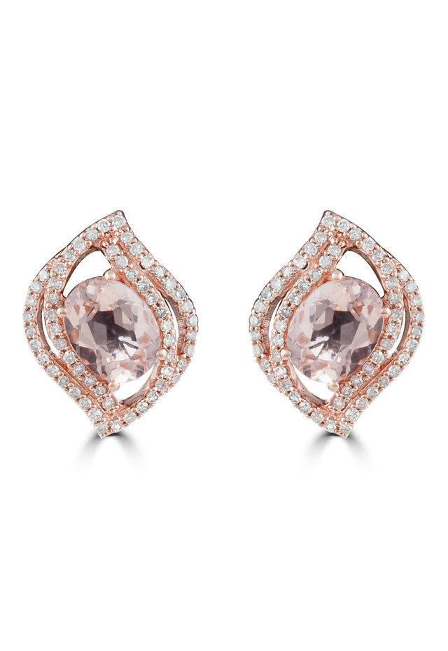 Effy Blush 14K Rose Gold Morganite and Diamond Earrings, 2.87 TCW