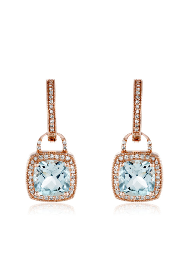 Effy Aquarius 14K Rose Gold Aquamarine and Diamond Earrings, 3.17 TCW
