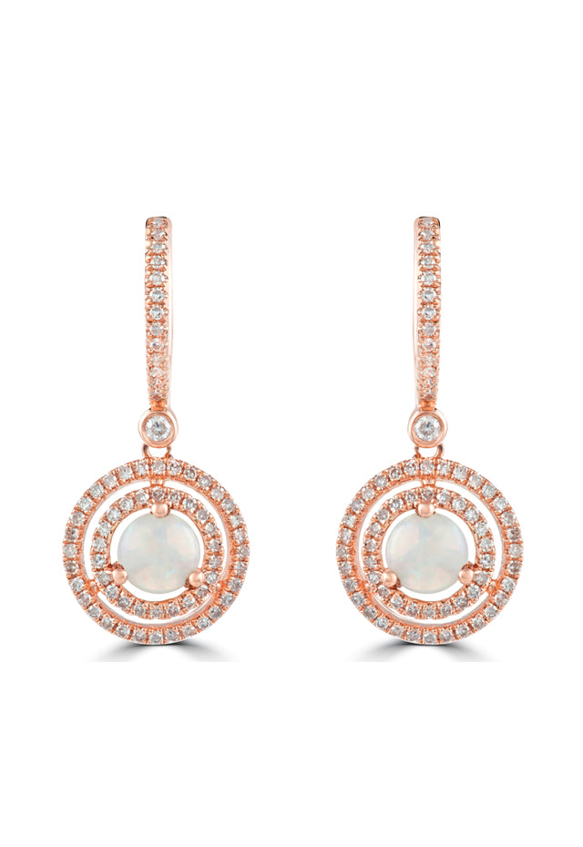 Effy Aurora 14K Rose Gold Opal and Diamond Earrings, 1.32 TCW