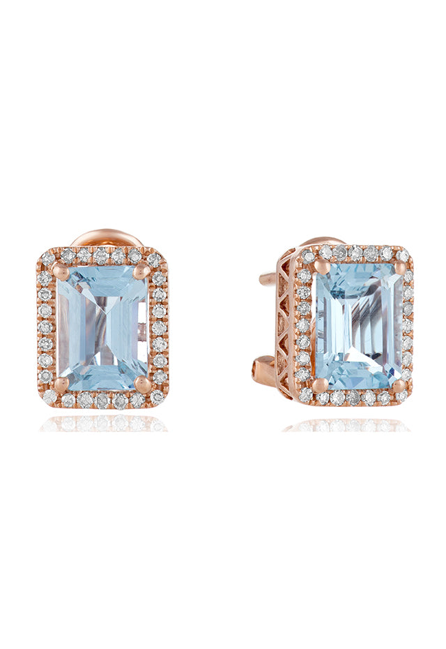 Effy Aquarius 14K Rose Gold Aquamarine and Diamond Earrings, 2.90 TCW