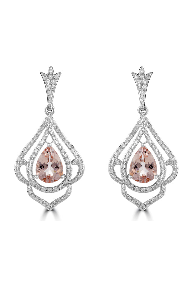 Effy Blush 14K White Gold Morganite and Diamond Earrings, 3.78 TCW