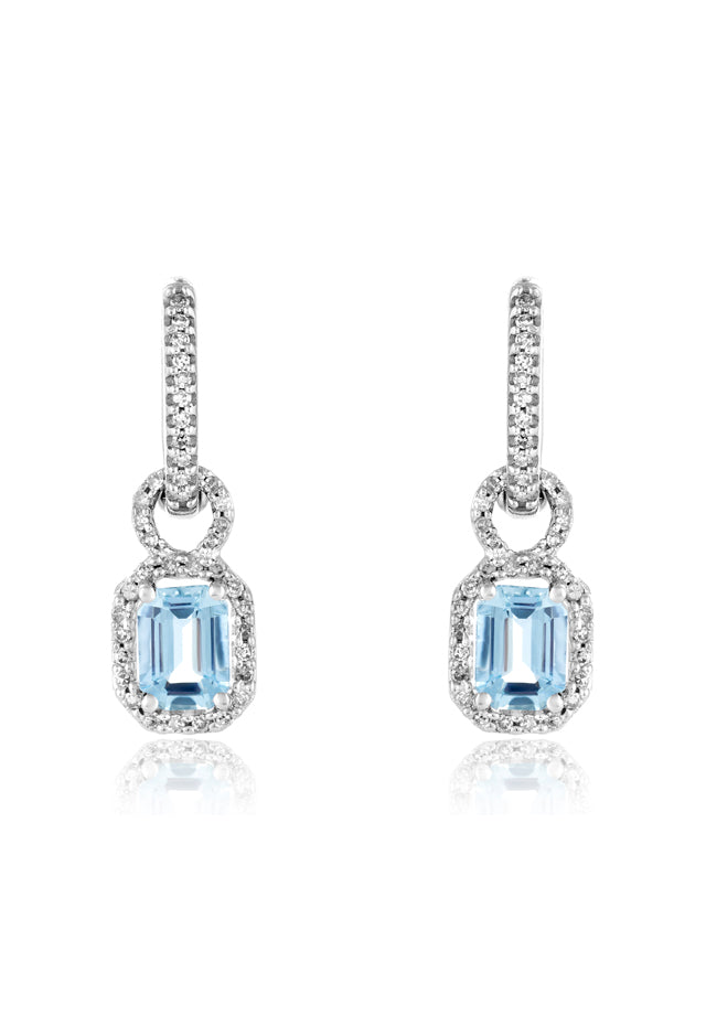 Effy Aquarius 14K White Gold Aquamarine and Diamond Earrings, 2.30 TCW
