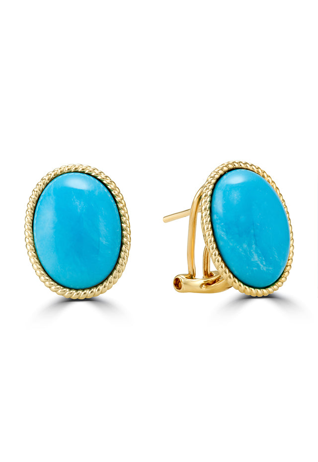 Effy Gemma 14K Yellow Gold Oval Turquoise Earrings, 13.40 TCW