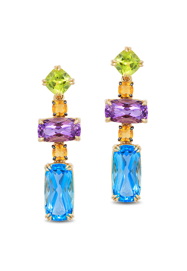 Effy Mosaic 14K Yellow Gold Blue Topaz, Amethyst, Citrine & Peridot Earrings