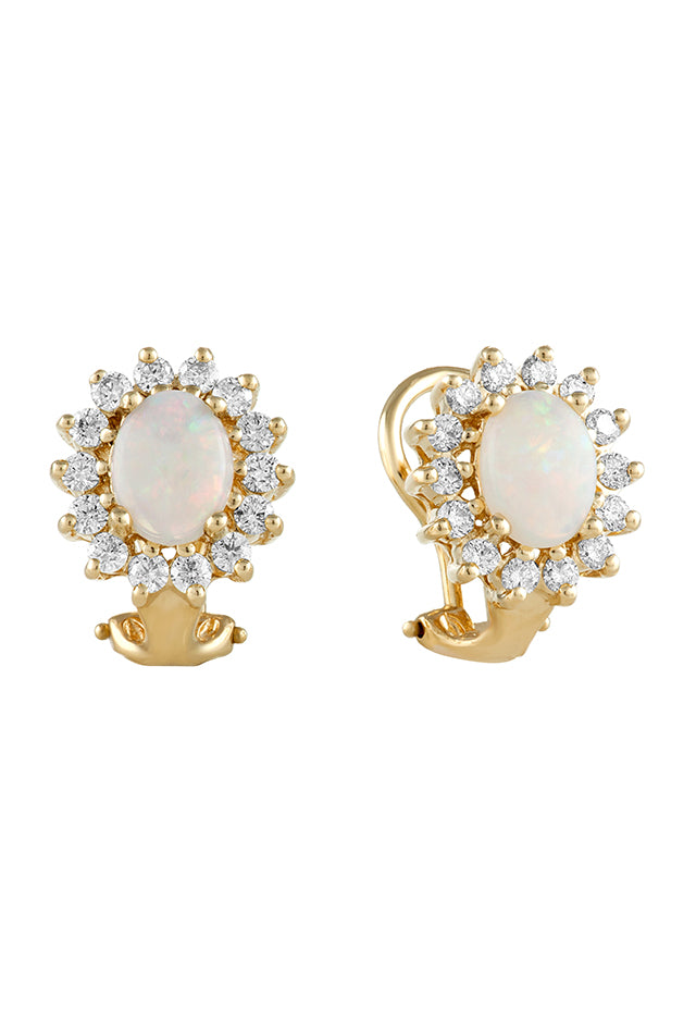 Effy Aurora 14K Yellow Gold Opal and Diamond Earrings, 2.24 TCW