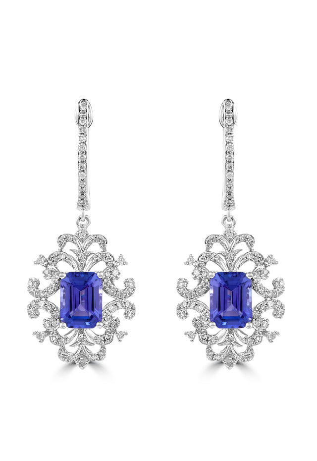 Effy Tanzanite Royale 14K White Gold Tanzanite & Diamond Earrings, 2.17 TCW