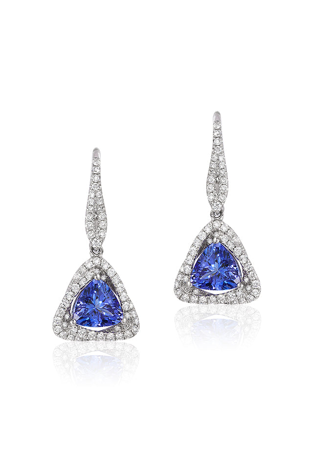 Effy Gemma 14K White Gold Trillion Tanzanite and Diamond Earrings, 1.62 TCW