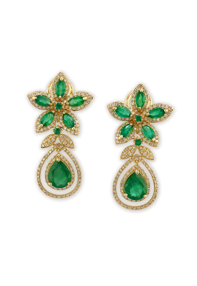 Effy Gemma 14K Yellow Gold Emerald and Diamond Earrings, 6.92 TCW