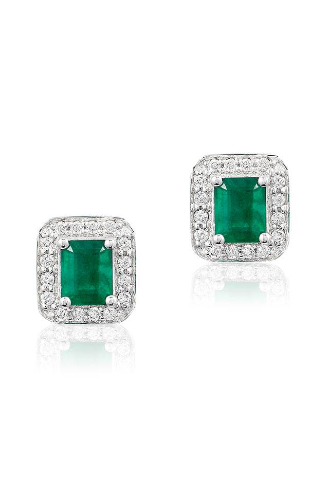 Effy Brasilica 14K White Gold Emerald and Diamond Stud Earrings, 1.11 TCW