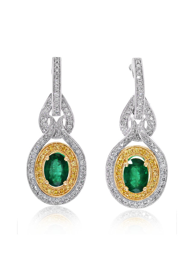 Effy 14K Two-Tone Gold Emerald, Yellow and White Diamond Earrings, 2.33 TCW