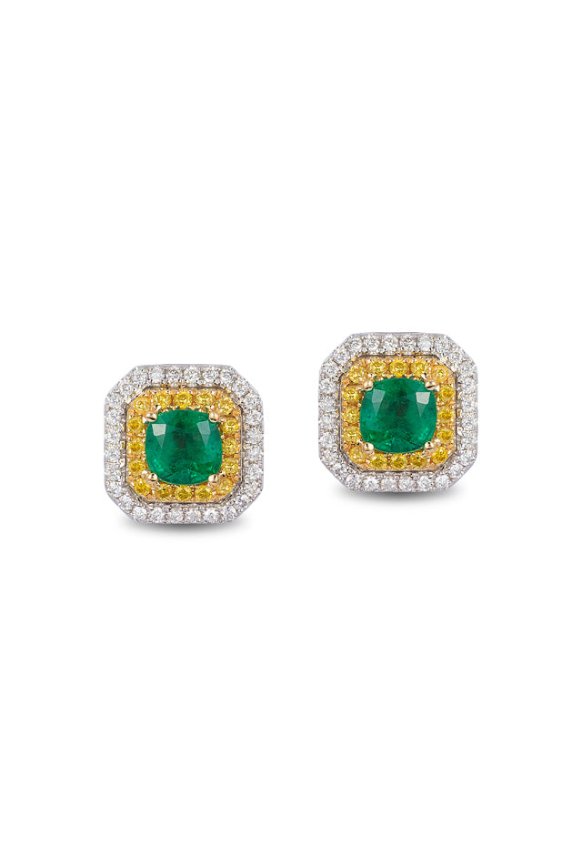 Effy 14K Tri-Color Gold Emerald, Yellow & White Diamond Earrings, 1.51 TCW
