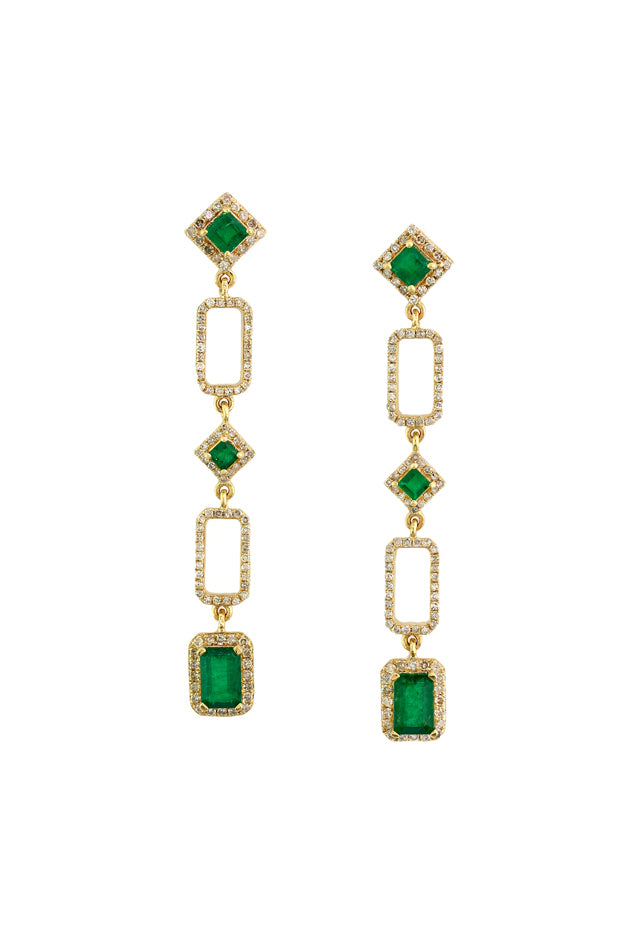 Effy Gemma 14K Yellow Gold Emerald and Diamond Earrings, 2.45 TCW