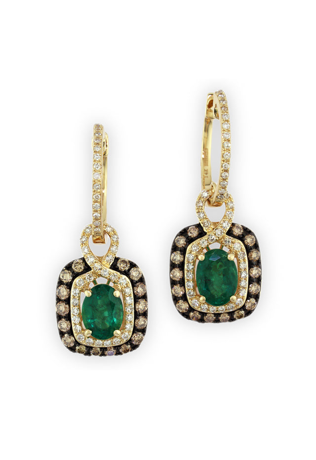 Gemma Emerald, Cognac & White Diamond Earrings